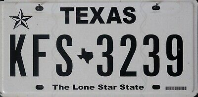 USA Number Licence Plate TEXAS THE LONE STAR STATE NEW CURRENT ISSUE