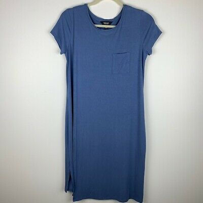 Simply Vera by Vera Wang Womans Size Small Shift T-shit Dress Blue Double layer