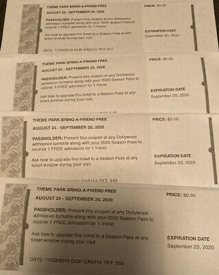 Lot of 4 Dollywood Theme Park Tickets-Bring a Friend Passes 8/24/20- 9/20/20