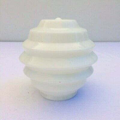 Art Deco Stepped Beehive Skyscraper Milk Glass Lamp or Ceiling Shade C1930s