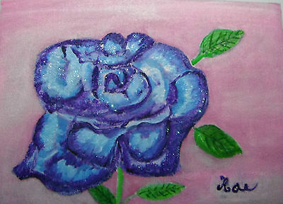 Blue Rose Acrylic painting  on A5 Canvas sheet signed by artist