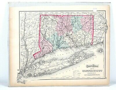 Antique 1870 Gray's Atlas Map of Connecticut Portions of New York Rhode Island