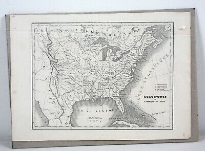 Antique French Map of United States 1840 America Vintage 19th Century
