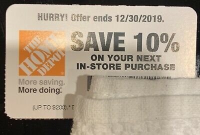 Home Depot 10% OFF Coupon (up to $200) - exp 12/30/19.
