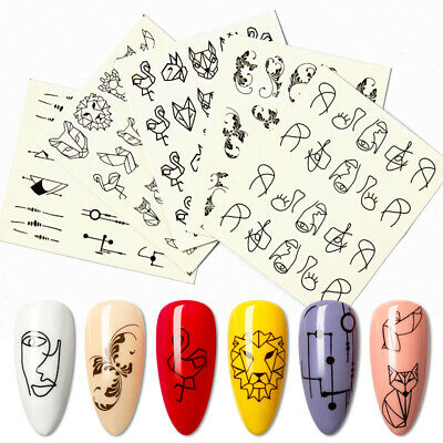 Black Geometric Image Nail Art Water Decal Transfer Stickers Tips DIY Decoration