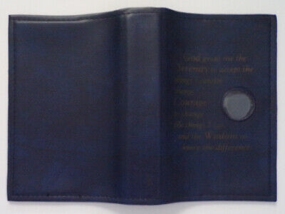 Alcoholics Anonymous Book Cover w/Medalion Holder Serenity Prayer Blue