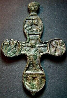 ANCIENT BIG BRONZE CROSS. RELIGIOUS ARTIFACT 16 - 17 CENTURY. 84 mm. (R.085)