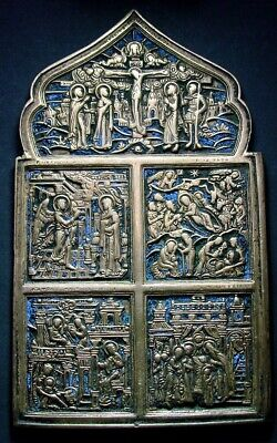 ANCIENT BIG BRONZE ORTHODOX ICON WITH ENAMEL 18 - 19 CENTURY 164 mm (R.119.02)