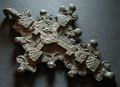 ANCIENT BRONZE VERY BIG CROSS. RARE. 17 - 18 CENTURY. 62 mm. (F.103)
