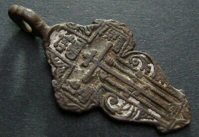 ANCIENT BRONZE ENAMEL CROSS. RELIGIOUS ARTIFACT 17 - 18 CENTURY. 47 mm. (F.091)