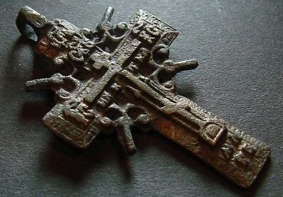 ANCIENT BRONZE CROSS RARE. RELIGIOUS ARTIFACT 18 CENTURY. 46 mm. (F.101)