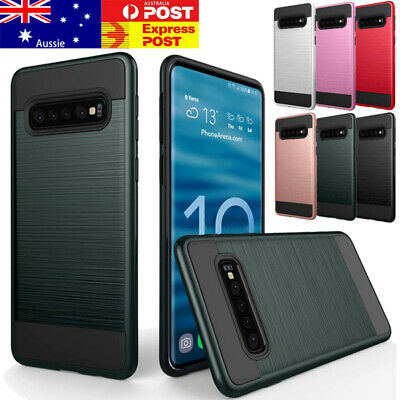For Samsung Galaxy S10 S9 S8 Plus Hybrid Armor Protective Case Brush Phone Cover