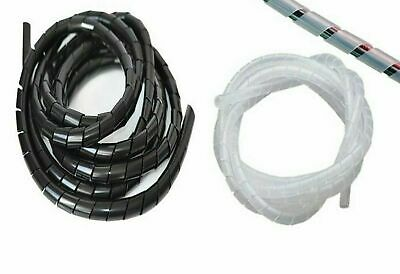 WT15# 32.8FT Spiral Cable Wire Wrap Tube Computer Manage Cord 10mm Black 10M
