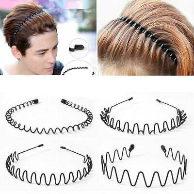 Cool Hair Band Metal Men's Sports Wave Headband Women Hairband Black Accessories