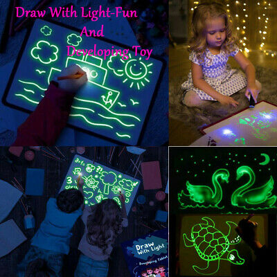 Fluorescent Light Up Drawing Magic Writing Board Kit Kids Fun And Developing Toy