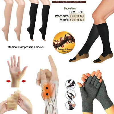 Anti Arthritis Copper Fingerless Gloves Compression Therapy Socks Silicone Gel