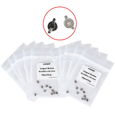 UK 100 X Orthodontic Dental Lingual Buttons Cleat Double Wing Mesh Base Bondable