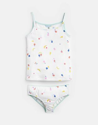 Joules Girls Melody Vest And Pant Set  - WHITE FRUIT