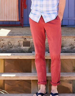 Joules Mens The Laundered Chino Slim Fit Trousers - WASHED RED