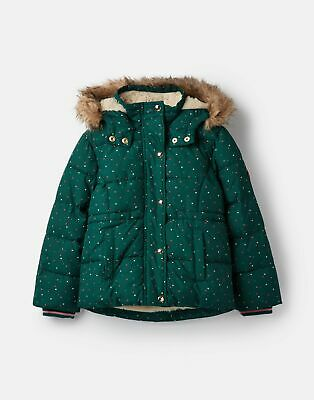 Joules Girls Stella Faux Fur Lined Padded Coat  - IVY GREEN STARS