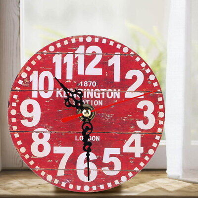 Vintage Wooden Wall Clock Large Shabby Chic Rustic Kitchen Home 7 Antique  *DC
