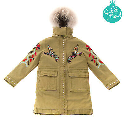 PINKO UP Parka Coat Size 6Y Raccoon Fur Trim Sherpa Inside Embroidered Hooded