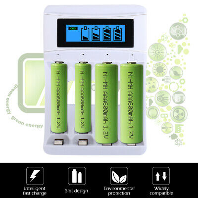 USB Smart Battery Charger LCD Display 4 Slots fr AA/AAA Ni-MH Rechargeable QZ