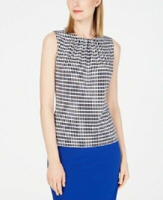 Calvin Klein Womens Career Top - Blouse, Pleated Printed, Black and Blue, Size S