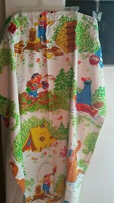 Set of Vintage Sesame Street Campfire Curtains Big Bird,Ernie,Burt Drapes