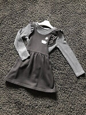 Girls Next Soft 100% Cotton Pinafore Dress And L/S Top Outfit Age 4 - 5 Years
