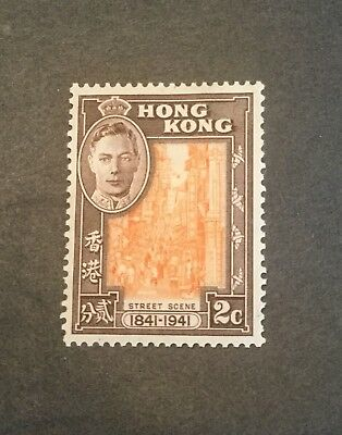 Hong Kong KGVI 1941 Centenary British Occupation sg 163 2c orange & brown MH