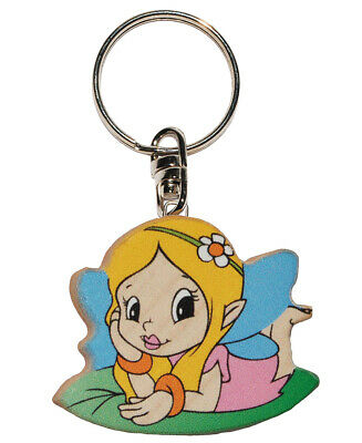 Keychain - Elf/ Fee/Princess with Flower - Very Stable Made Varnished