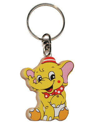 Keychain - Elephant/Circus Animal - Very Stable Made Lacquered Wood - An