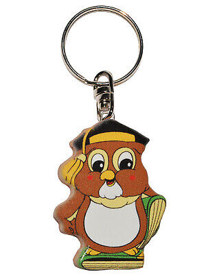Keychain - Owl with Book - Very Stable Made Lacquered Wood - Pendant F