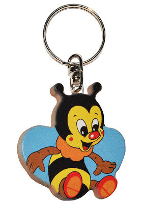 Keychain - Bees / Honey Bee - Very Stable Made Lacquered Wood - Pendant