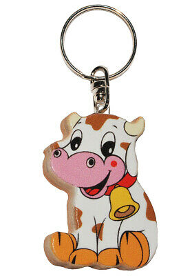 Keychain - Cow/Little Calf - Very Stable Made Lacquered Wood - Pendant