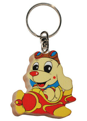 Keychain - Dog in Airplane - Very Stable Made Lacquered Wood - Pendant