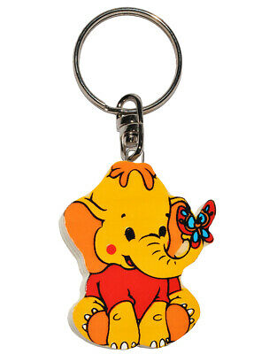 Keychain - Elephant with Butterfly - Very Stable Made of Lacquered Wood