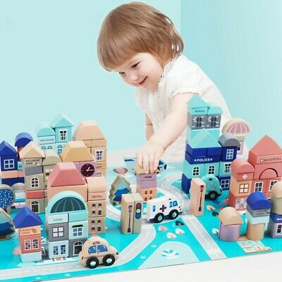 133PCS Wood Building Set City Construction Stacker Stacking Preschool Learning