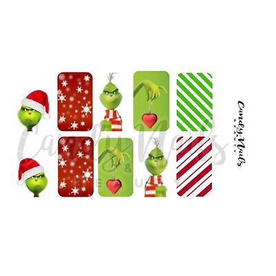 Nail art water slide decals  Transfers Christmas Xmas Grinch Festive