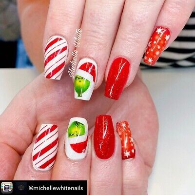 Nail art water slide decals  Transfers Christmas Xmas Grinch Festive candy cane