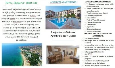 BEACH HOLIDAY in Bulgaria.7 nights in a 1-Bedroom Apt in Complex Apollon, 4ppl