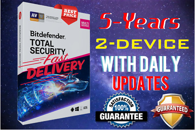 Bitdefender Total Security 2019 / 2020 - 5 Years Activation 2 Device