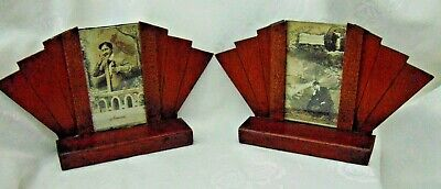 Pair Antique Art Deco Free Standing Wooden Mantle Photo Picture Frames