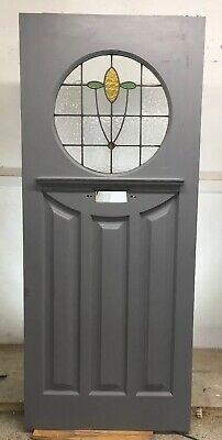 1920s 30s ART DECO FRONT DOOR  RECLAIMED WOOD LEAD STAINED GLASS PERIOD ANTIQUE-