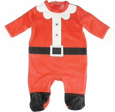 Baby Girls Christmas Red White Velour Romper Sleepsuit All in One Santa Claus...