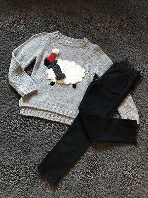 """Girls Next Black Skinny Jeans & """"Sheep"""" Fun Chunky Jumper Outfit   Age 8 Years"""