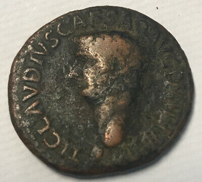 Claudius 41-54 AD Roman  bronze AS of Ancient Rome Littleton Guaranteed Genuine