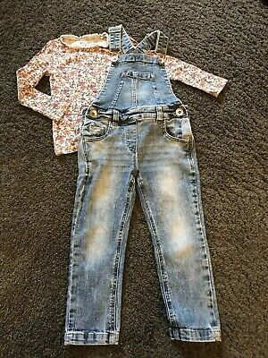 Girls Fab Next Jean Skinny Dungaree's And L/S Top Outfit  Age 3 Years