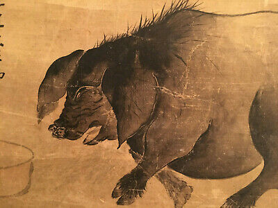 A Small Chinese Qing Dynasty Scroll Painting on Paper , Artist signed.
